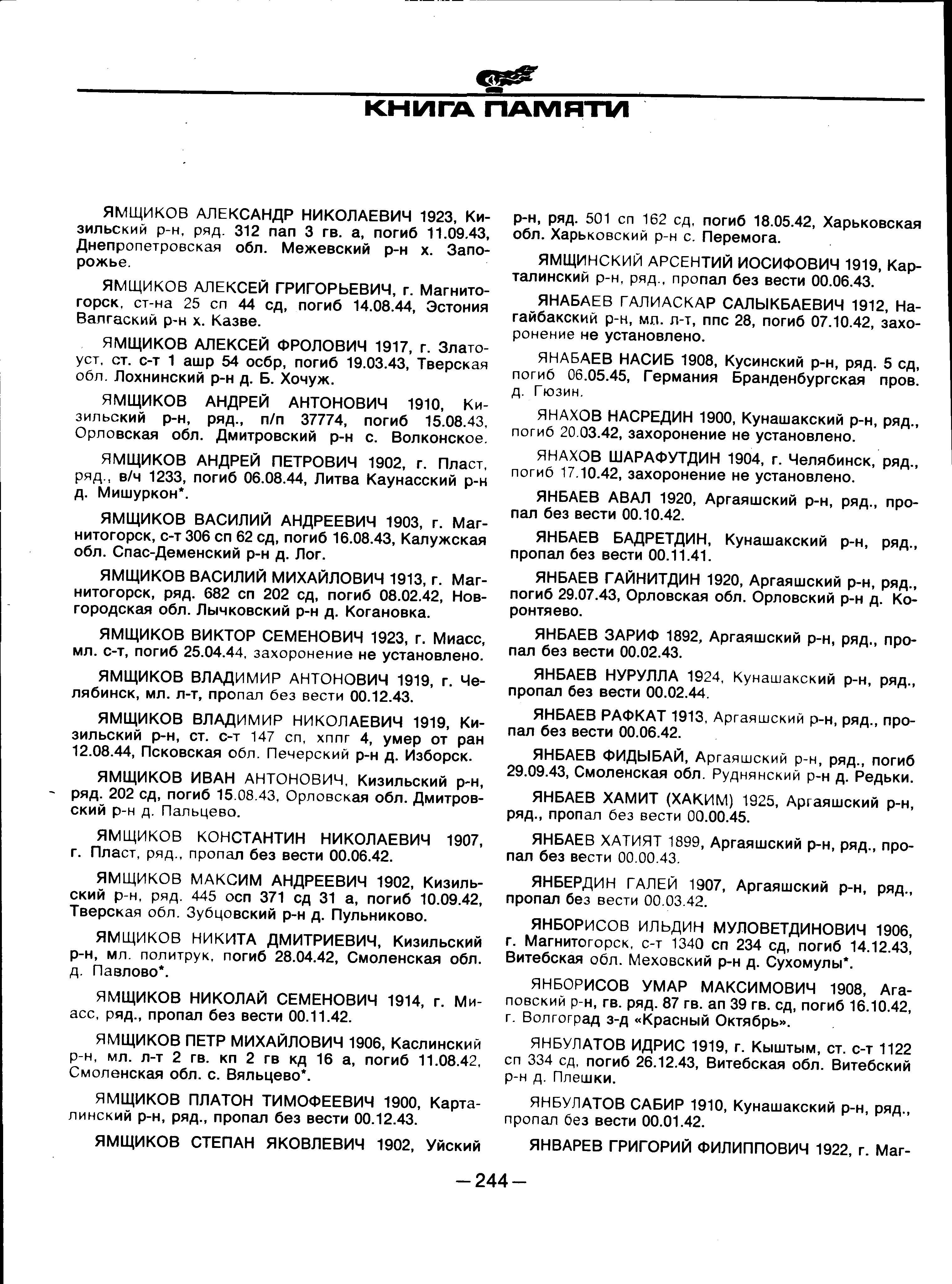 Список погибших - Огнёвское